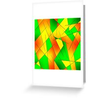 ABSTRACT LINES-1 (Greens, Oranges & Yellows)-(9000 x 9000 px) Greeting Card