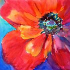 Red Poppy Pillow by Lora Garcelon