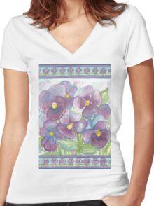 PURPLE LOVE - LOVELY PANSIES Women's Fitted V-Neck T-Shirt