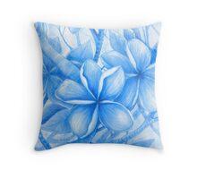 summer blues frangipani Throw Pillow