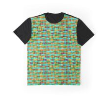 Weathered Plaid Aqua & Orange Graphic T-Shirt
