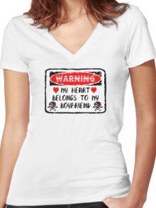 Heart Belongs To My Boyfriend Women's Fitted V-Neck T-Shirt