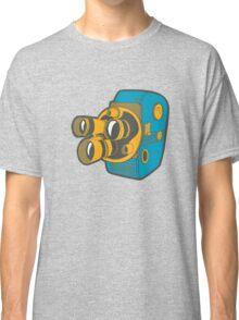 Retro Color Splash Cine Camera Blue Classic T-Shirt