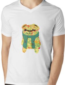 Floral Bear In The Summer Mens V-Neck T-Shirt