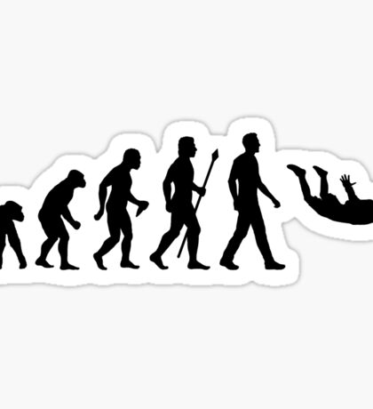 Funny Skydiving Evolution Of Man Sticker