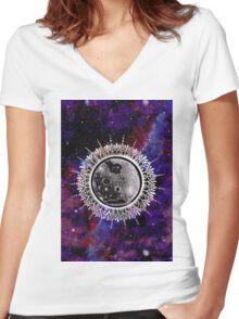 Galaxy Moon Mandala Women's Fitted V-Neck T-Shirt