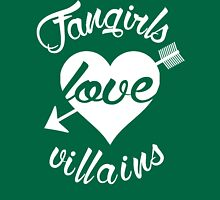Fangirls love villains. [ WHITE ] Womens Fitted T-Shirt