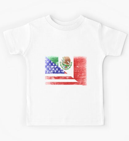 Vintage Mexican American Flag Cool T-Shirt Kids Tee