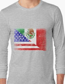 Vintage Mexican American Flag Cool T-Shirt Long Sleeve T-Shirt