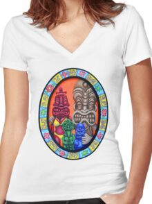 Tiki Family Portrait Women's Fitted V-Neck T-Shirt