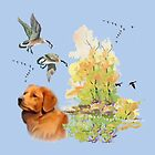 Duck Toller Retriever with fall scene by IowaArtist