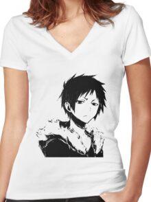 Izaya black and white Women's Fitted V-Neck T-Shirt