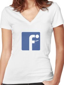 F-posture: take your eyes off your smartphone Women's Fitted V-Neck T-Shirt
