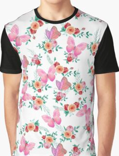 Modern pink watercolor roses floral cute butterfly Graphic T-Shirt