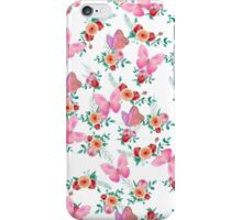 Modern pink watercolor roses floral cute butterfly iPhone Case/Skin