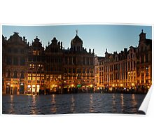 Brussels - Grand Place Facades Golden Glow Poster
