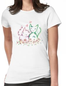 Love Cats Watercolor Womens Fitted T-Shirt