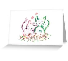 Love Cats Watercolor Greeting Card