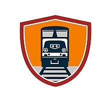 Diesel Train Freight Rail Crest Retro Photographic Print