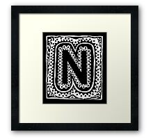 Initial N - Black and White Framed Print
