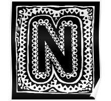 Initial N - Black and White Poster
