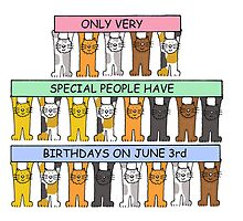 Cartoon cats celebrating June 3rd birthday. by KateTaylor