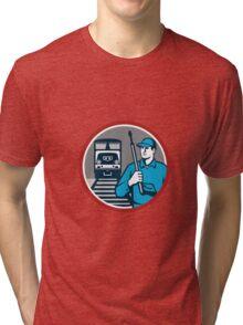 Pressure Washer Train Rail Circle Retro Tri-blend T-Shirt