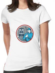 Pressure Washer Train Rail Circle Retro Womens Fitted T-Shirt