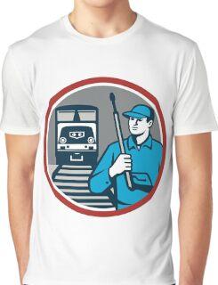 Pressure Washer Train Rail Circle Retro Graphic T-Shirt