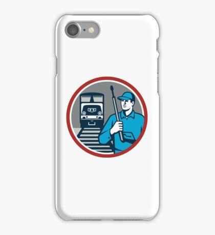 Pressure Washer Train Rail Circle Retro iPhone Case/Skin