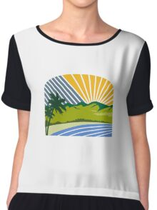 Tropical Trees Mountains Sea Coast Retro Chiffon Top