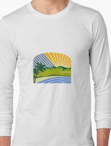 Tropical Trees Mountains Sea Coast Retro Long Sleeve T-Shirt