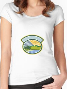 Tropical Trees Mountains Sea Coast Oval Retro Women's Fitted Scoop T-Shirt