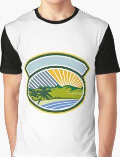 Tropical Trees Mountains Sea Coast Oval Retro Graphic T-Shirt