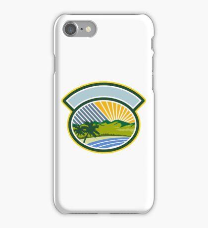 Tropical Trees Mountains Sea Coast Oval Retro iPhone Case/Skin