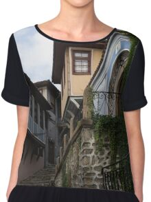 Steep and Twisting Cobblestone Street Chiffon Top