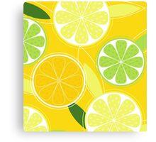 Yellow Citrus: Citrus fruit background vector Canvas Print