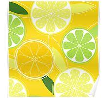 Yellow Citrus: Citrus fruit background vector Poster