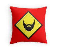 BEWARE beard yellow sign Throw Pillow