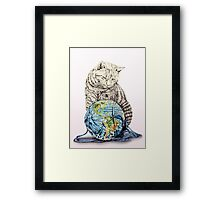 Our feline deity shows restraint Framed Print