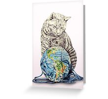 Our feline deity shows restraint Greeting Card