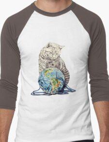 Our feline deity shows restraint Men's Baseball ¾ T-Shirt