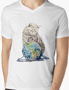 Our feline deity shows restraint Mens V-Neck T-Shirt
