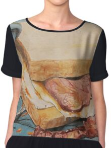Egg and bacon sandwich on blue hoodie Chiffon Top