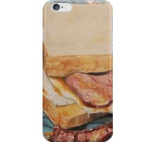Egg and bacon sandwich on blue hoodie iPhone Case/Skin