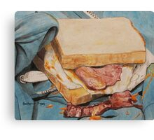 Egg and bacon sandwich on blue hoodie Canvas Print