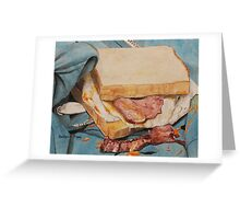 Egg and bacon sandwich on blue hoodie Greeting Card