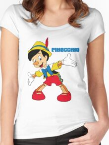 Pinocchio Cartoon Movie Funny Women's Fitted Scoop T-Shirt