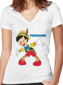 Pinocchio Cartoon Movie Funny Women's Fitted V-Neck T-Shirt