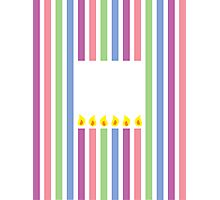 Cute little birthday candles in a rectangle Photographic Print